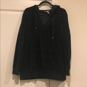 Dark Green velvet v-neck hoodie maternity sweater